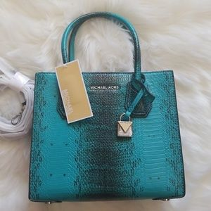 1a7cb59029ad Michael Kors Bags - NWT Michael Kors Tile Blue Teal Mercer Crossbody